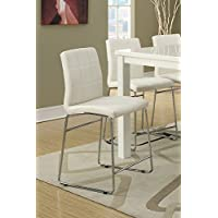 Poundex High Dining Chairs, Upholstered Faux leather, Set of 2, Cream