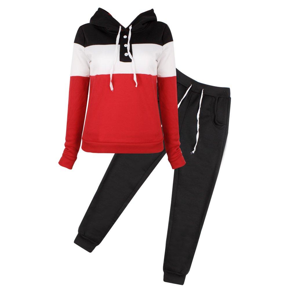 Best-topshop Women Casual Tracksuit Hoodie Sweatshirt Sweater Pants Sports Outfits Black)