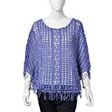 Blue 80% Viscose & 20% Polyester Crochet Floral Pattern Swimsuit Cover-ups Poncho with Fringe One Size