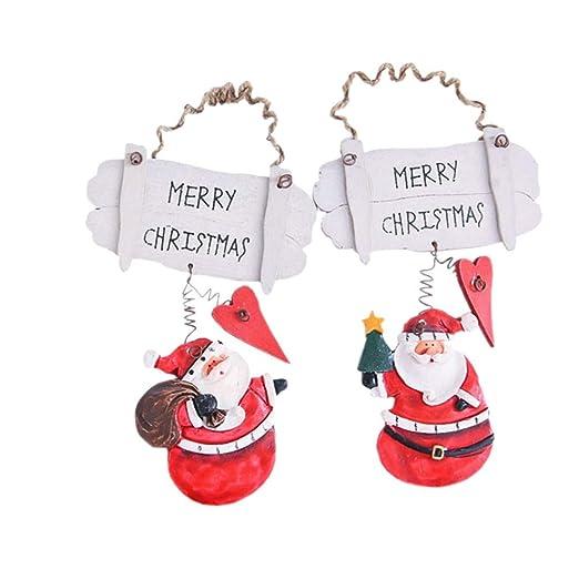 Amosfun Feliz Navidad Cartel Puerta de Madera Adornos para ...