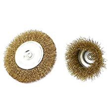 DealMux 6mm Dia Shank Flat Cup Wire Wheel Polishing Grinding Brush 2 in 1 Set