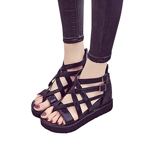 SKY Después de alta-top sandalias clip de cremallera del dedo del pie hueco Sra Sandals Flip Flops Negro