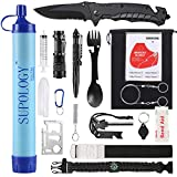 SUPOLOGY Emergency Survival Gear Kits -23 in 1 Outdoor Tactical Tools for Hiking/Adventures/Climbing Necessary - Water Filter,Flashlight,Tactical Pen,Spoon Fork,Survival Bracelet, Fire Starter etc.