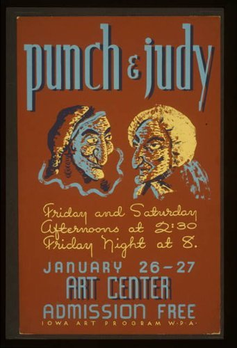 Photo: Punch & Judy, Sioux City Art Center, Iowa, IA, Comedy, 1940, Federal Art Project, WPA . Size: Art Center Iowa