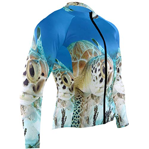 Turtle Sea Coral Mens Cycling Jersey Coat Long Sleeve Mountain Biking Wear Outfit