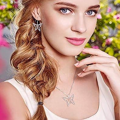 MANBU 925 Sterling Silver Celtic Butterfly Heart Pendant Necklace Earrings Jewelry Girls Women Ladies B07CBTXW9Z/_US