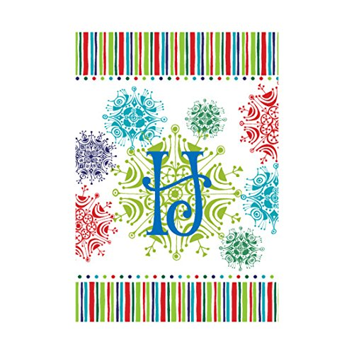 Monogram Garden Flag Colorful Snowflakes Pattern Background With Letter H Outdoors Flags Of Double Sided Waterproof And Fade Resistant Printed banners 12.5 X 18 Inch 100% Polyester 4 H Flags