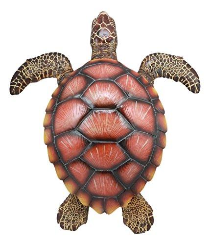 Nautical Marine Swimming Brown Sea Turtle Wall Decor Hanging Plaque Figurine