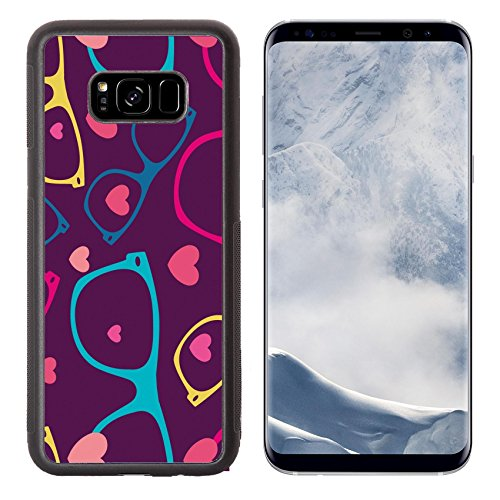 Luxlady Samsung Galaxy S8 Plus S8+ Aluminum Backplate Bumper Snap Case IMAGE ID: 31104850 sunglasses and hearts seamless pattern - Target Frames Eyeglass