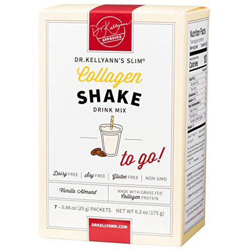 Collagen Vanilla Almond Shake: to-Go Packets (7 Servings per Box) Bone Broth Expert Dr. Kellyann | 100% Grass-Fed Collagen – No Artificial Sweeteners – Gluten Free - Dairy Free - Soy Free
