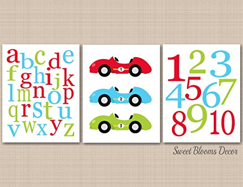 Transportation Décor,Cars Nursery Wall Art,Race Cars kids Wall Art,Cars Playroom Wall Art,Cars Baby Gift,Cars Wall Art,Transportation Wall Art-Alphabet Numbers UNFRAMED 3 PRINTS (NOT CANVAS) - Class Usps Tracking Mail Number First