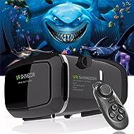 Anpow 3d VR Lunettes, VR Headset, casque de réalité virtuelle avec lentille réglable et sangle Permet pour iPhone 55S 6Plus et Android Samsung S3Edge Note 4et 3,5–14cm Smartphone pour 3d Films et jeux avec Bluetooth Remote Controller + Blue Ray en verre