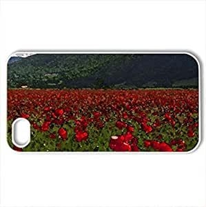 beautiful field of poppies - Case Cover for iPhone 4 and 4s (Flowers Series, Watercolor style, White)