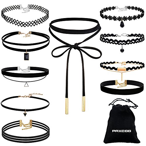 Add Multi Silver Charm (Paxcoo 10 Pieces Choker Necklace with A Stroage Drawstring Bag for Women Girls, Black Classic Velvet Stretch Gothic Tattoo)