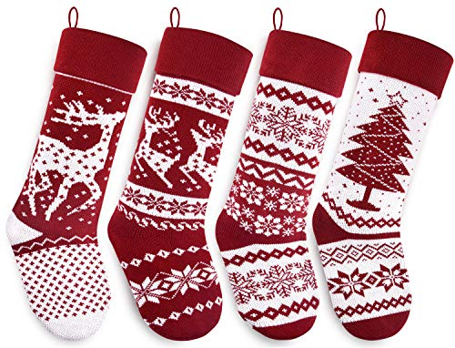 Starry Dynamo Knit Christmas Stockings 21-Inch Long Red/White with Big & Little Reindeer, Snowflakes, Xmas Tree 4-Pack (Big & Little Reindeer, Snowflakes, Xmas Tree) (4 Christmas Stocking Of Set)