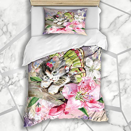 Ahawoso Duvet Cover Sets Twin 68X86 Aquarelle Cat Butterfly Kitten Wildlife Watercolor Purebred Fairy Fancy Fluffy Kittie Whiskers Microfiber Bedding with 1 Pillow Shams