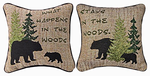 Throw Pillows - What Happens in The Woods Reversible Tapestry Pillow - 12.5