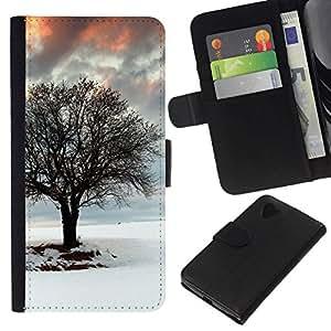 NEECELL GIFT forCITY // Billetera de cuero Caso Cubierta de protección Carcasa / Leather Wallet Case for LG Nexus 5 D820 D821 // Árbol del invierno