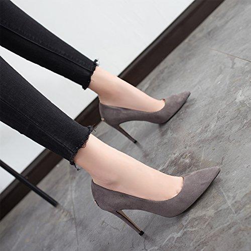 Talons nouveau et 9cm moyennes des professionnelles automne Gray femelle chaussures avec hauts Jqdyl été hauts 2017 Sharp sauvages Talons ddqaR4