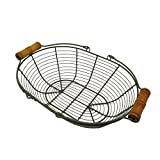 CVHOMEDECO. Oval Metal Wire Egg Basket Wire Basket with Wooden Handle Country Vintage Style Storage Basket. Rusty, 12-3/4 L X 9'' W X 3-1/2 H.