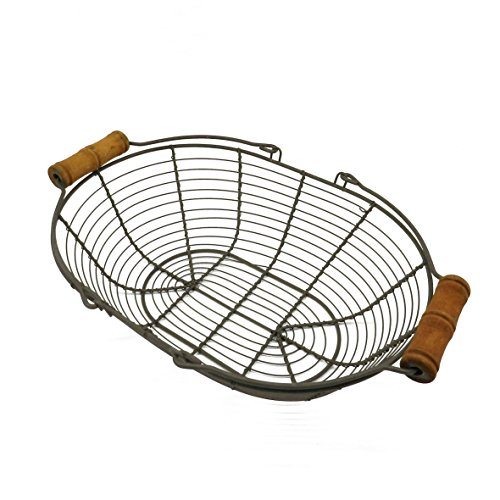 CVHOMEDECO. Oval Metal Wire Egg Basket Wire Basket with Wooden Handle Country Vintage Style Storage Basket. Rusty, 12-3/4 L X 9'' W X 3-1/2 H. by CVHOMEDECO.