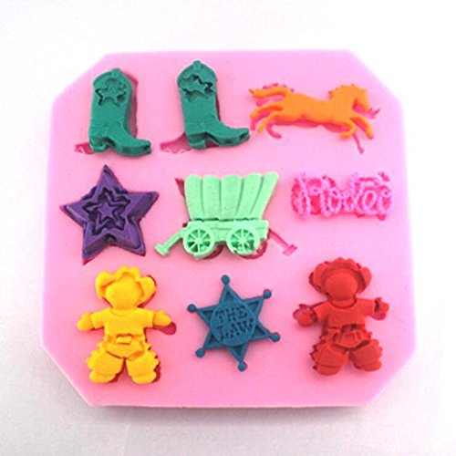 Allforhome(TM) 9 cavity the Wild West Cowboy theme Silicone Candy Mold Fondant and Gum Paste Mould Food Grade Silicone non stick Resin Candy Sugar Craft Moulds Cake Decoration Molds Tool