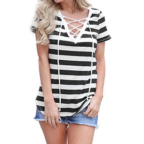 2018 New Women's Striped Tops Loose Pullover T-Shirt V Neck Short Sleeve Tops Shirt Blouse by E-Scenery (Black, Small) (New Top Design)