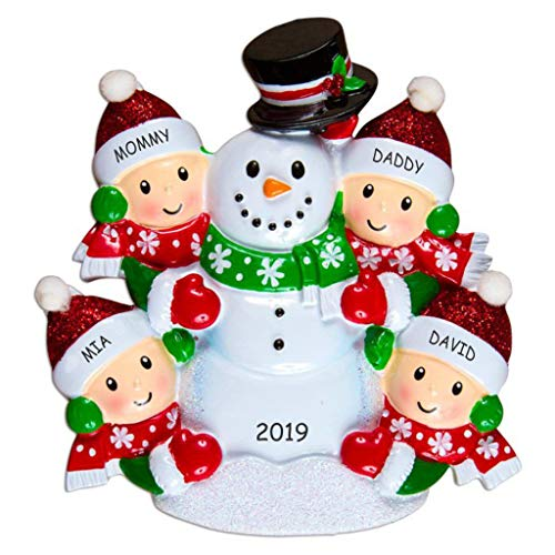 DIBSIES Personalization Station Personalized Snowman Fun Family Christmas Ornament (Family of 4)