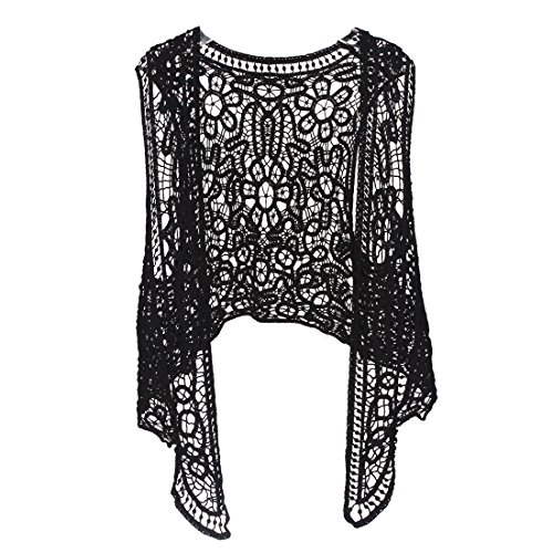 Pirate Clothing For Women - Pirate Curiosity Open Stitch Cardigan Boho Hippie Crochet Vest (Black)