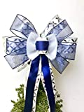 Gift Bow, Navy Blue Silver and White Handmade Large Gift Bow, Office Decorating, Wreath Bows, Holiday Bow, Home Decor, Swag Bow, Door Decor - Handmade Bow