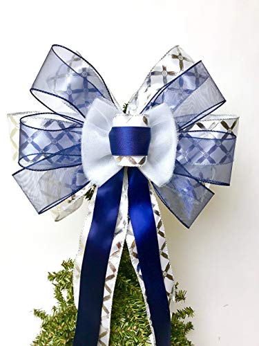 Gift Bow, Navy Blue Silver and White Handmade Large Gift Bow, Office Decorating, Wreath Bows, Holiday Bow, Home Decor, Swag Bow, Door Decor - Handmade Bow by Art of Bows