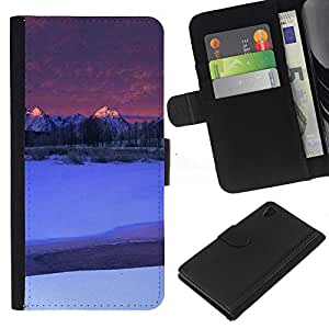 Ihec-Tech / Flip PU Cuero Cover Case para Sony Xperia Z4 - Nature Moutnain Tips