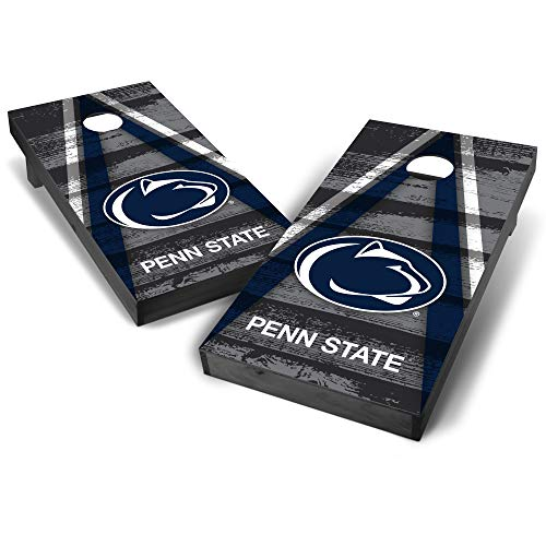 Wild Sports NCAA College Penn State Nittany Lions 2' x 4' Grey Authentic Cornhole Game Set - Vintage Triangle Design