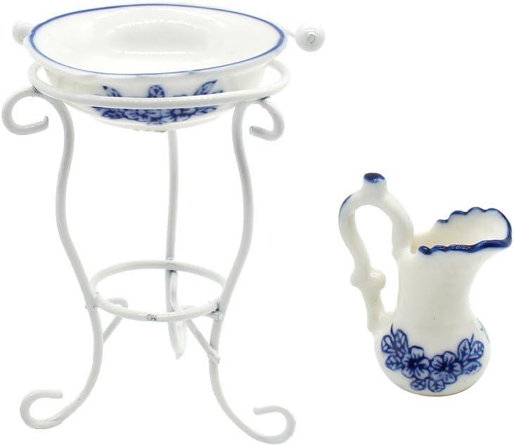 Sharplace Miniatur Wassertopf Waschbecken Rack Puppenm/öbel Set f/ür 1:12 Puppenhaus Puppenstube Badezimmer Dekoration