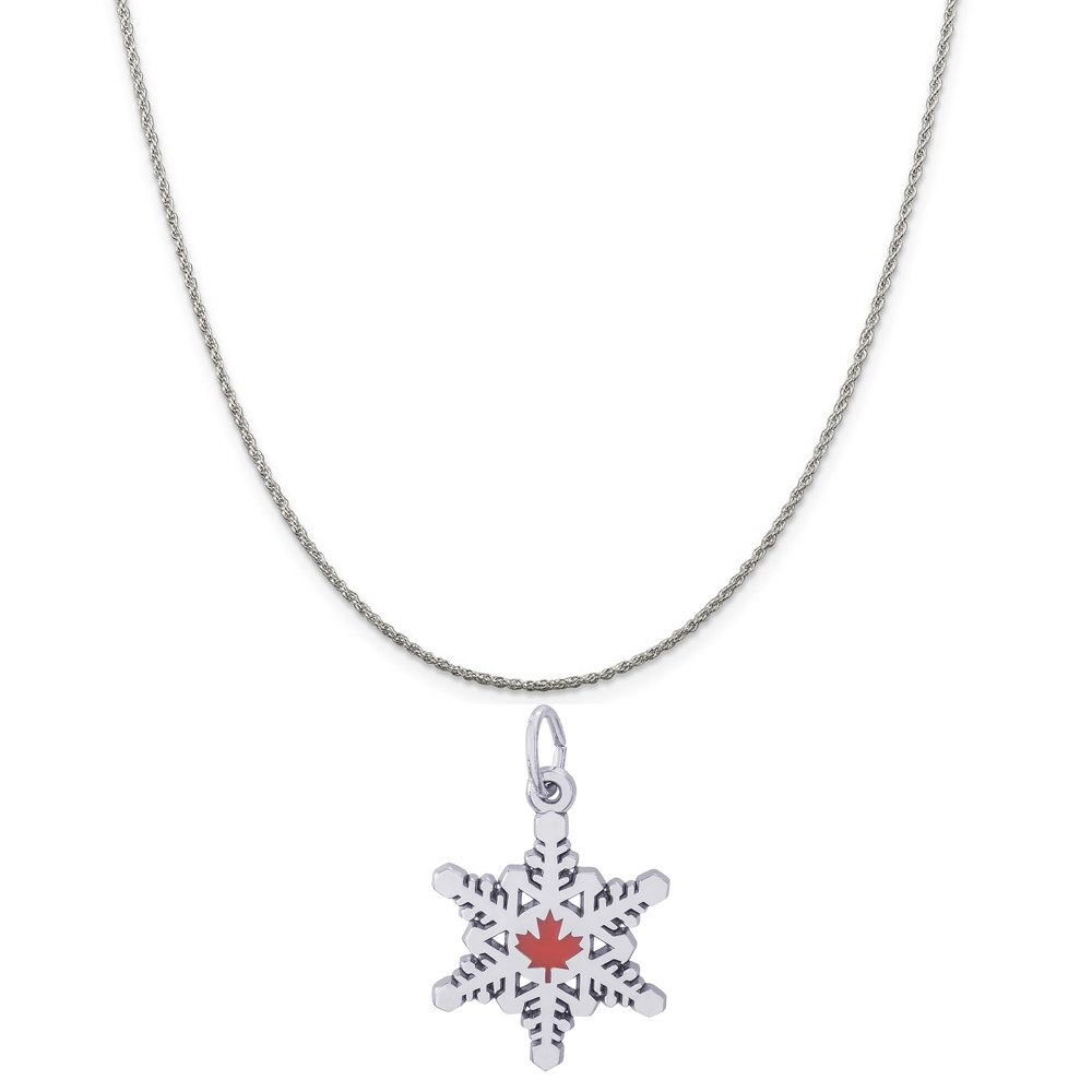 Rembrandt Charms Sterling Silver Enameled Canadian Maple Snowflake Charm on a 16 Box or Curb Chain Necklace 18 or 20 inch Rope