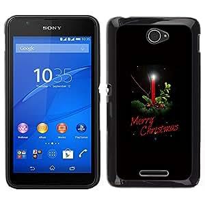 LECELL--Funda protectora / Cubierta / Piel For Sony Xperia E4 -- Invierno Navidad Negro Vacaciones Vela --