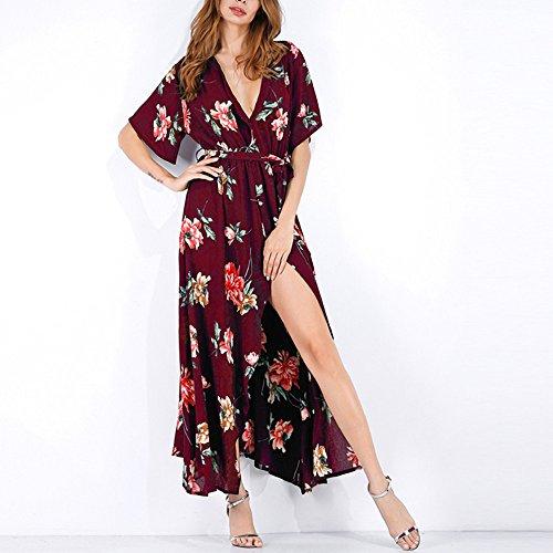 Beihxwe Floral Print Belted Short Sundress V-Neck Beach Party Sexy Split Maxi Dress (L, Red) ()