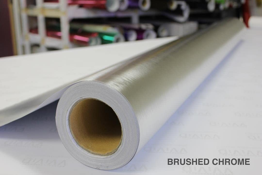 Silver Brushed Chrome Stainless Steel 5ft x 3ft Vinyl Wrap Roll with Air Release Technology