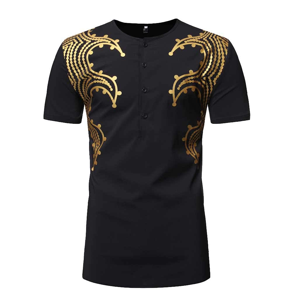 AHAYAKU Fashion Men's Slim Fit Printed Muscle Tee T-Shirt Casual Medium Length Shirt Black