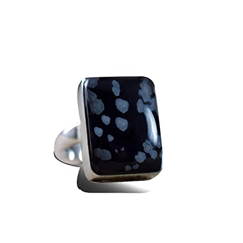 Statement Adjustable 925 sterling silver rings for women Reiki jewelry uk 18x13mm stone Virgo jewelry Snowflake Obsidian ring