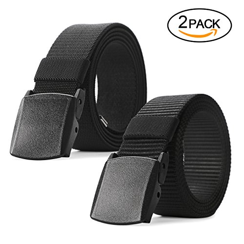 Nylon Canvas Tactical Pants - JASGOOD Nylon Canvas Breathable Military Tactical Men Waist Belt With Plastic Buckle (1.5'' width, 03-013Black+015Black pant size below 45'')