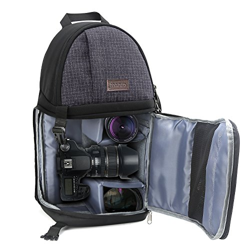 MOSISO Camara Bolsa, Mochila a Prueba de Golpes a Prueba de Agua con Correa Ajustable Crossbody y Compartimentos de Almacenamiento de Accesorios para Cámaras DSLR / SLR / sin Espejo (Canon, Nikon, Son