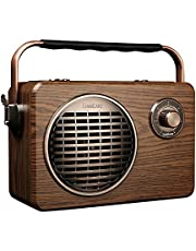 LuguLake Portable Bluetooth Speaker with Wireless Built-In Subwoofer, FM Radio, Mic Input, Karaoke, USB/TF Readers, TWS, Remote Control and High Battery Capacity Boombox-Vintage Retro Style