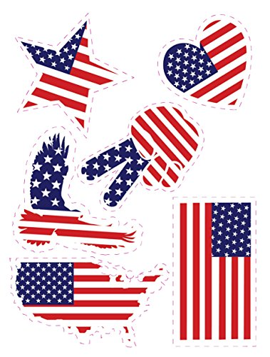 Enjoy It U.S.A. Flag Patriotic Silhouette Car Stickers, 6 Pieces, Outdoor Rated Vinyl Sticker Decals