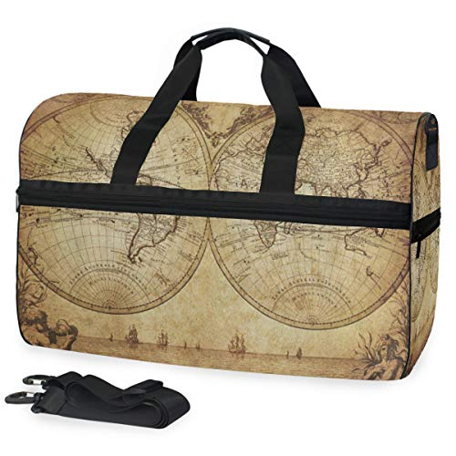 Gym Bag Antique Old World Map Art Duffle Bag Large Sport Overnight Yoga Bag for Men Women