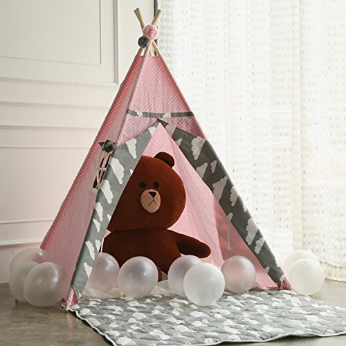 Princess Teepee Fairy Tent - 5' Large Handcraft Pink Cotton Canvas Play Tent Kids Playhouse by Wonder Space, Comes with Free Hang Decorations, Best Gift Indoor & Outdoor Present for Girls
