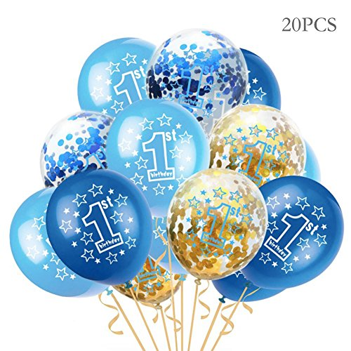 First Birthday Balloons, Blue, Light Blue, Confetti Balloons Pack of 20, 12 Inch, Great for Baby Girl Boy 1st Birthday Party Supplies ()