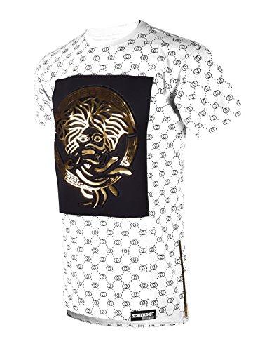SCREENSHOT SCREENSHOTBRAND-751 Mens Hipster Hip-Hop Premiun Tees - Luxury Longline Embossed Gold Print T-Shirts Medusa-White-XLarge