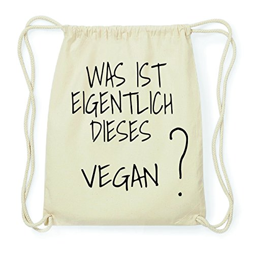 JOllify VEGAN Hipster Turnbeutel Tasche Rucksack aus Baumwolle - Farbe: natur Design: Was ist eigentlich XP3aVTU