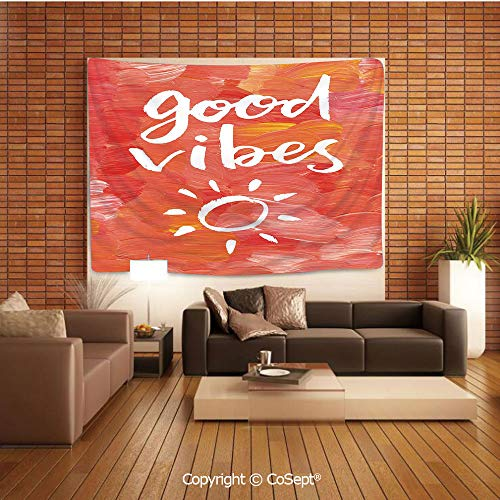 PUTIEN Polyester Fabric Tapestry,Artistic Brushstrokes Positive Life Message Hand Drawn Sun Figure Print,Tapestry Art Print Tapestry for RoomDark Coral White